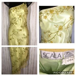Scala Lime Green/Yellow Beaded Dress Prom Gown S